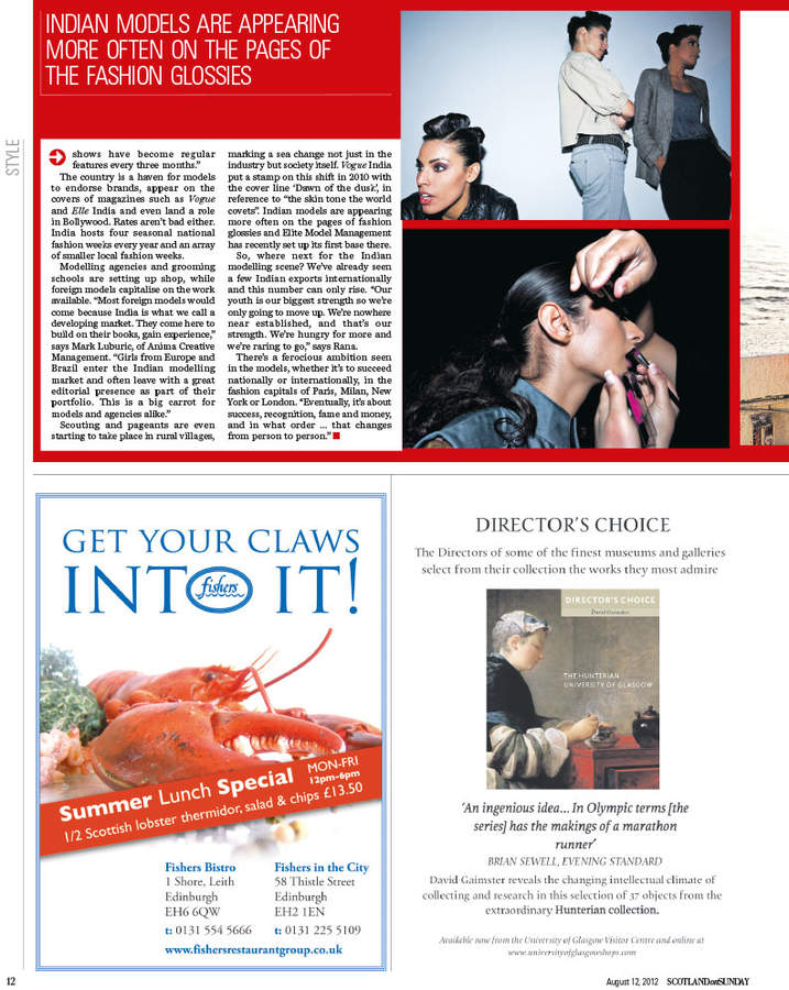 Scotsman on Sunday publication and tearsheet, 2012.