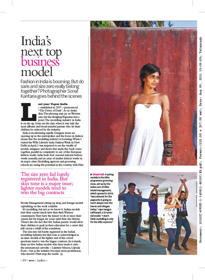 Sunday Telegraph publication and tearsheet, August 2011